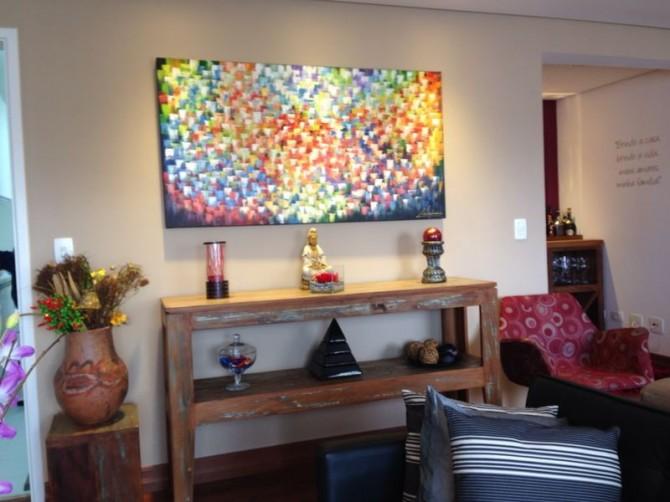 Quadro abstrato multicolorido pintado a mão 80x150 código 1102