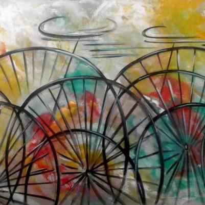 Quadro decorativo pintado a mão tema bike, ciclismo, bicicleta, abstrato,original, medida 70x180 código 1106