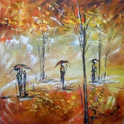 Quadro decorativo pintado a mão paisagem pessoas com guarda-chuva medida 60x60 código 143