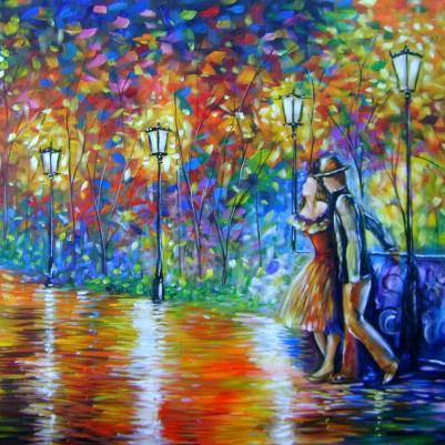 Quadro decorativo pintado a mão paisagem casal lustres medida 90x120 código 171