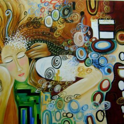 Quadro decorativo pintado a mão releitura da obra O beijo de Klimt por Katia Almeida 100X130 código 180