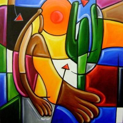 Quadro decorativo pintado a mão releitura de Tarsila do Amaral por Katia Almeida , O Abaporu 60x60 código 363