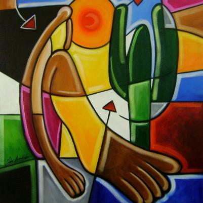 Quadro decorativo pintado a mão releitura de Tarsila do Amaral por Katia Almeida , O Abaporu 50x60 COD 398