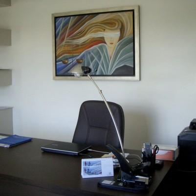 Quadro decorativo, pintado a mão, para escritório advocatício tema Deusa da justiça, Themis modelo2 medida 70x100 código 567