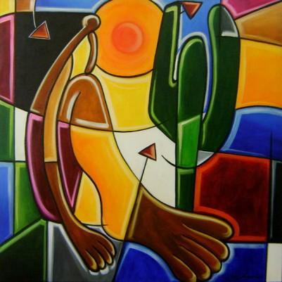 Quadro decorativo pintado a mão releitura de Tarsila do Amaral por Katia Almeida , O Abaporu 90x90 código 574