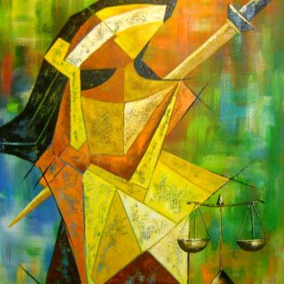 Quadro decorativo, pintado a mão, para escritório advocatício tema Deusa da justiça, Themis modelo 3, 70x90 código 606