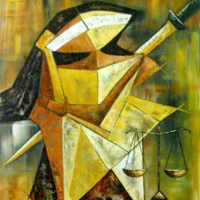 Quadro decorativo, pintado a mão, para escritório advocatício tema Deusa da justiça, Themis modelo 3, 50x70 código 614