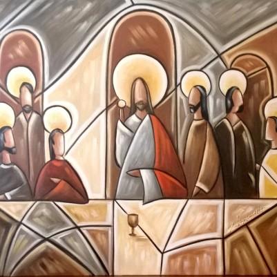 Quadro decorativo Santa ceia moderna pintada a mão tons terrosos medida 60x100 códio 655
