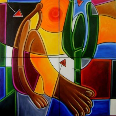 Quadro decorativo pintado a mão releitura de Tarsila do Amaral por Katia Almeida , O Abaporu  120x120 código 729