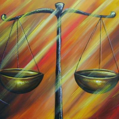 Quadro decorativo para escritório advocatício tema balança da justiça fundo abstrato 2a medida 60x100 código 785