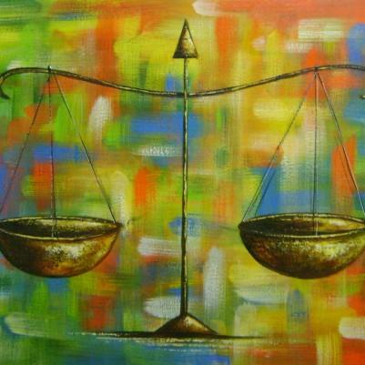Quadro decorativo para escritório advocatício tema balança da justiça fundo abstrato medida 50x70 código código 877