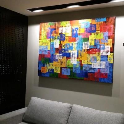 Quadro abstrato multicolorido geométricos espatulado pintado a mão 100x140 código 885