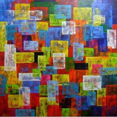 Quadro abstrato multicolorido geométricos espatulado pintado a mão 100x100 código 886