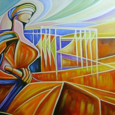 Quadro decorativo, pintado a mão, para escritório advocatício tema Deusa da justiça, Themis 70x120 código 921