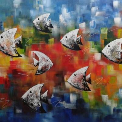Quadro decorativo pintado a mão peixes 1A medida 60x120 cod 934