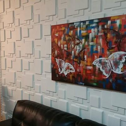 Quadro decorativo pintado a mão borboletas 70x120 código 1070