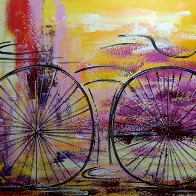 Quadro decorativo pintado a mão tema bike, ciclismo, bicicleta, abstrato,quadro original,medida  70x100 codigo 1083