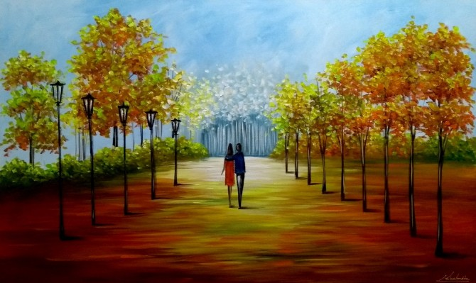 Quadro decorativo pintado a mão paisagem e casal medida 60x100 código 1111