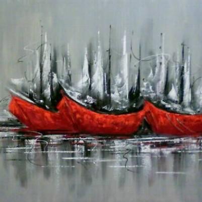 Quadro abstrato com barcos para decoração original pintado a mão  2b 40x60 código 202