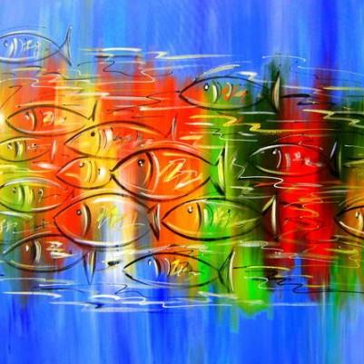 Quadro decorativo pintado a mão peixes 2b medida 70x90 código 131