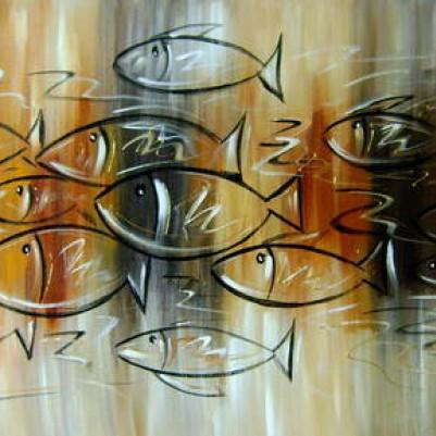Quadro decorativo pintado a mão peixes 2b medida 50x100 código 152