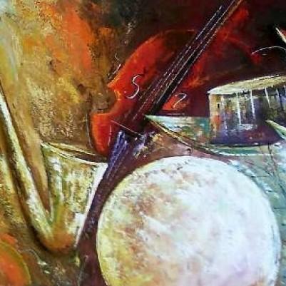 Quadro pintado a mão instrumentos musicais medida 50x100 Código 162