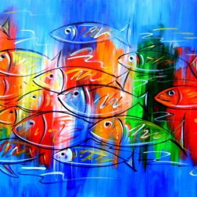 Quadro decorativo pintado a mão peixes 2b medida 60x100 código 326