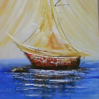 Quadro abstrato com barcos para decoração original pintado a mão  3b 40x70 código 409