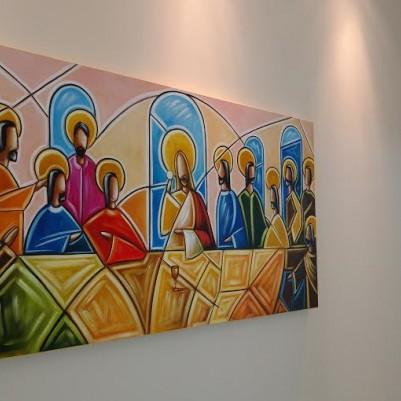 Quadro decorativo Santa ceia colorida moderna pintada a mão medida 60X120 código  521