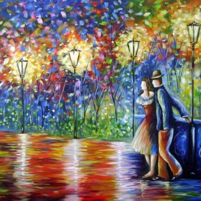 Quadro decorativo pintado a mão paisagem casal lustres medida 70x100 código 568