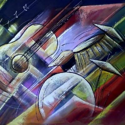 Quadro pintado a mão instrumentos musicais medida 60x80 Código 630
