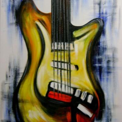 Quadro pintado a mão instrumentos musicais medida 50x70 Código 697