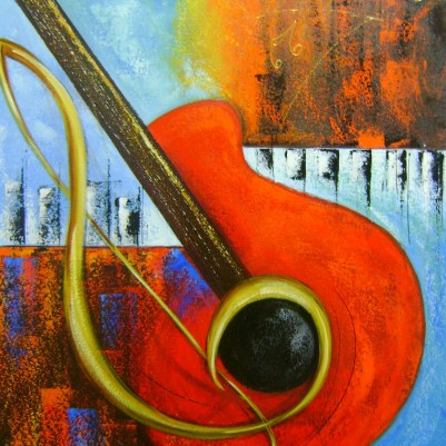 Quadro pintado a mão instrumentos musicais medida 50x70 Código 701
