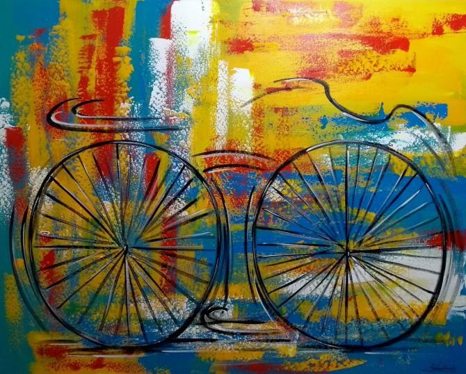 Quadro decorativo pintado a mão tema bike, ciclismo, bicicleta, abstrato,quadro original,medida  80x100 codigo 731