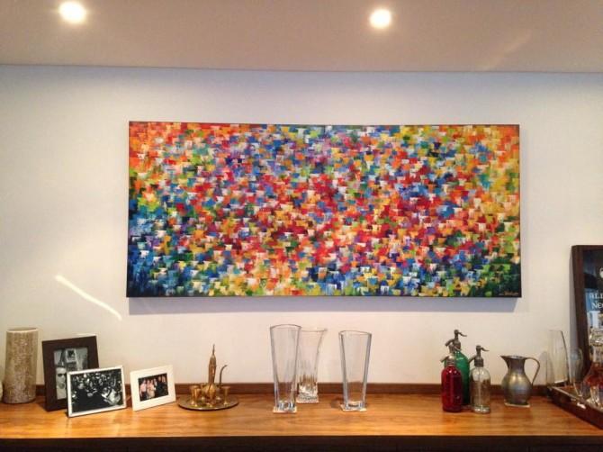 Quadro abstrato multicolorido pintado a mão 80x180 código 752
