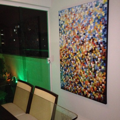 Quadro abstrato multicolorido pintado a mão, vertical , original,100x150 código 766