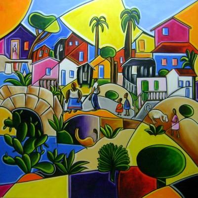 """Quadro pintado a mão Releitura da obra de Tarsila do Amaral """"Morro da favela """"  100x100 código 794"""