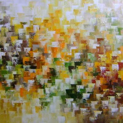 Quadro abstrato multicolorido pintado a mão  (cores 2a) 70x120 código 889