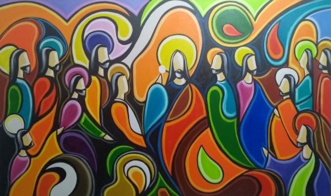 Quadro Santa ceia pintada a mão colorida modelo curvas  medida 60x100 código 943