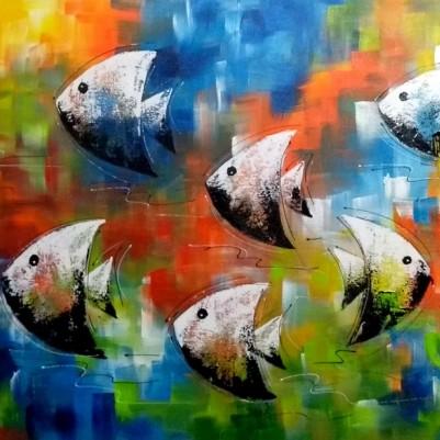 Quadro decorativo pintado a mão peixes 1A medida 50x100 cod 1187