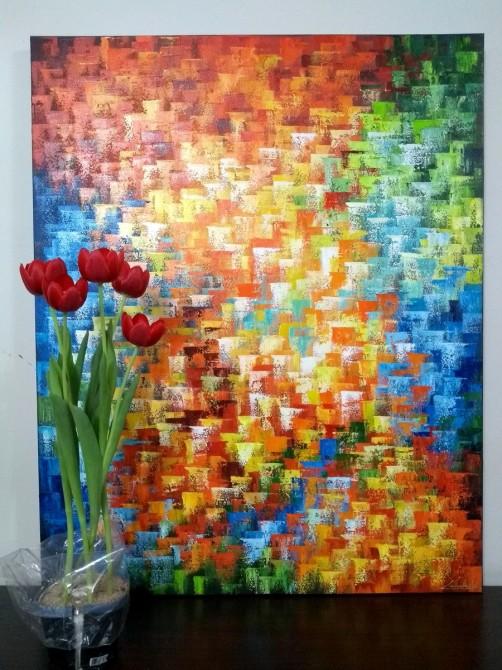 Quadro abstrato multicolorido pintado a mão, vertical 80x100 COD 1120