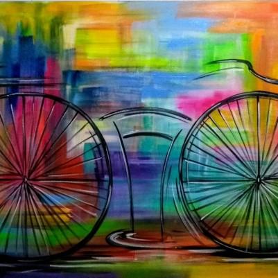 Quadro decorativo pintado a mão tema bike, ciclismo, bicicleta medida 80x150 código 1137
