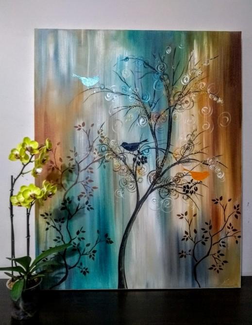 Quadro decorativo pintado a mão tema arvores e passarinhos estilo moderno 3a, vertical,  70x100 código 1140