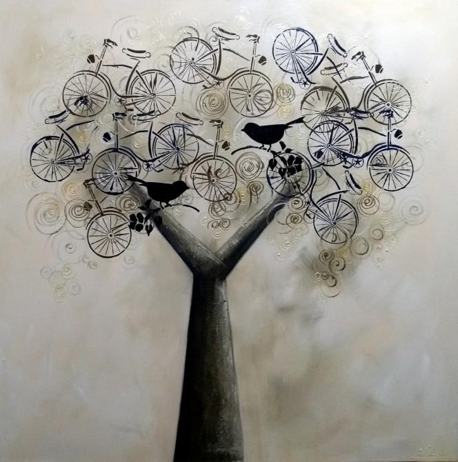 Quadro decorativo pintado a mão tema arvores e passarinhos e bikes (bicicletas) estilo moderno 4a, 80x80 código 1141