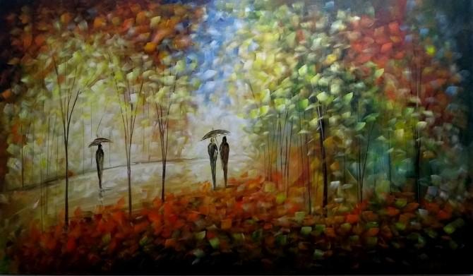 Quadro decorativo pintado a mão paisagem pessoas medida 70x120 código 1152