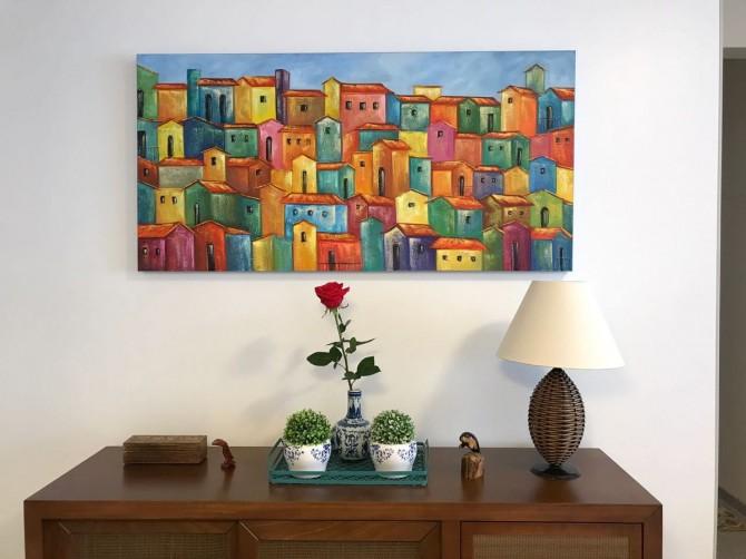 Quadro casario estilo moderno abstrato colorido 1a  70x140 código 353