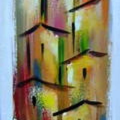 Quadro casario estilo moderno abstrato colorido vertical 2a 20x100 código 399