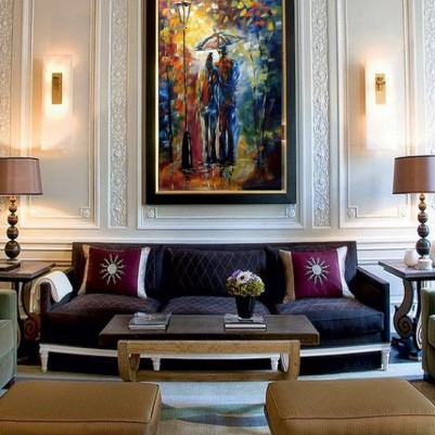 Quadro decorativo pintado a mão paisagem casal vertical medida 80x120 código 564