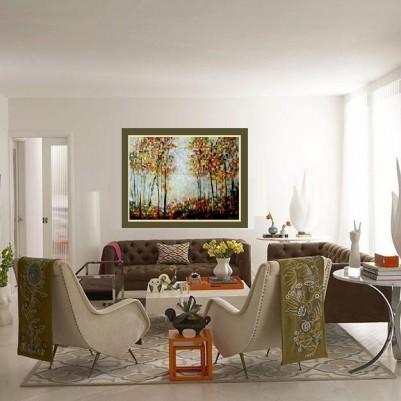 Quadro decorativo pintado a mão paisagem abstrato arvores 90x120 COD 635