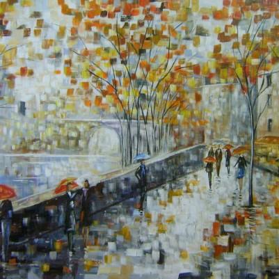 Quadro decorativo pintado a mão paisagem abstrato arvores, pessoas, urbano 70x100 Código 637